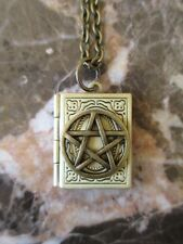 Wicca Book of Shadows Bronze Pentacle Handmade Photo Locket Chain Necklace