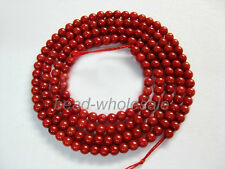 New Lovely Red Natural Coral Gemstone Round Spacer Beads 16'' For Making Jewelry