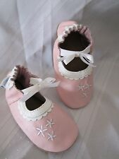 ROBEEZ Baby Girl Shoes Soft Soles Ruffles MJ Pastel White Pink Mary Jane Shoe