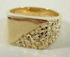 24KT Gold Overlay Men's Stylish Nugget Ring - Sizes 7-14 Lifetime Warranty