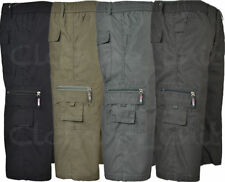 S22 Mens 3/4 Elasticated Waist  Long Shorts Cargo Combat Poly cotton Zip Fly
