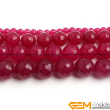 "Plum Jade Gemstone Faceted Round Beads For Jewelry Making 15"" 4mm 6mm 8mm 10mm"