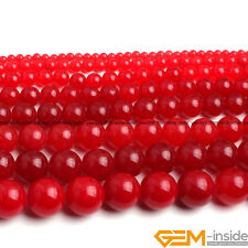 "Red Jade Gemstone Round Beads For Jewelry Making Strand 15"" 4MM 6MM 8MM 10MM 12M"