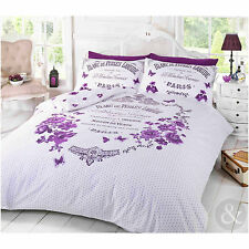 French Paris Duvet Cover – Shabby Chic Floral Butterfly Purple Bedding Bed Set