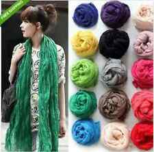 New Girl Women Soft Candy Colors Long Crinkle Scarf Wrap Voile Wraps Stole Shawl