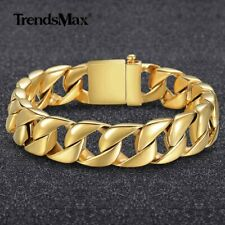 15mm MENS Chain 316L Stainless Steel Gold Tone Curb Cuban Link Bracelet Gifts