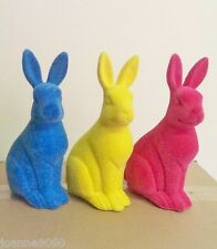 GISELA GRAHAM BRIGHT FLOCKED BUNNIES BUNNY RABBIT EASTER DECORATION ORNAMENTS