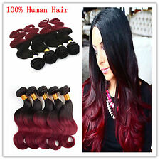 Body Wave 100% Indian Remy Human Hair ombre Two Tone Weft Extension #1B/99J