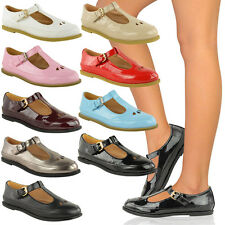 LADIES WOMENS GIRLS FLAT CUT OUT DOLLY GEEK SHOES SCHOOL WORK BROGUES PUMPS SIZE