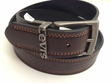 LEVI'S Men's Leather Belt *Brown/Black Reversible w/Grey Buckle* Various Sizes