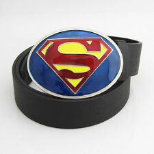 Blue Yellow Red Superman Superhero New Western Mens Metal Belt Buckle Leather