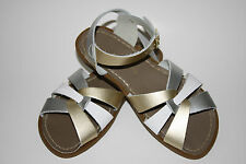 Ladies Adult Silver/White/Gold Multi Strap Saltwater Sandals