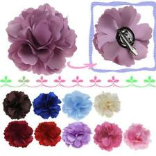 Satin Peony Hair Clip Camellia Flower Corsage Bridal Beach Wedding Party Brooch
