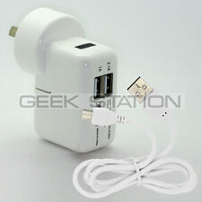 Dual double USB Wall Charger Cable Adapter for Samsung i9505 i9500 G900 S4 S5