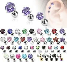 New Cartilage Helix Upper Ear Piercing Tragus Bar Barbell 3, 4, 5mm Flat Gem