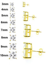 Gold Clear Square Cubic Zirconia CZ Surgical Stainless Steel Stud Earrings