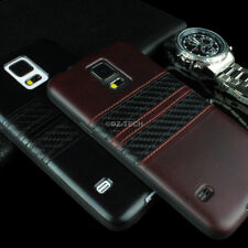 For Samsung Galaxy S5 SV PU Leather Hybrid TPU w/Carbon Fiber Strips Case Cover