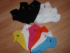 NWT WOMENS RALPH LAUREN POLO SOCKS 6 PAIRS SZ 9-11 PINK, WHITE, GRAY