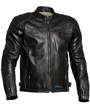 HALVARSSONS QUARTER CLASSIC MENS BLACK LEATHER MOTORCYCLE JACKET WITH TFL COOL