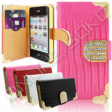 NEW DIAMOND BLING FLIP LEATHER WALLET CASE COVER FOR iPHONE 4S 5S 5c 6 & SAMSUNG