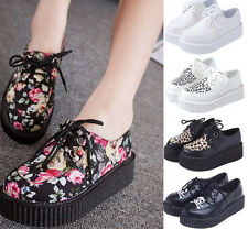 Women's Girl's Vintage Floral Lace-up High Platform Flat Oxfords Creeper Shoes