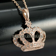 Fashion Crown Pendant Necklace 18KGP Rhinestone Crystal