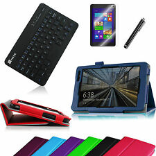 For Dell Venue 8 Pro Tablet Folio Cover Case + Bluetooth Keyboard +Film + Stylus