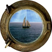 Huge 3D Porthole Sailing Boat Ship Scooner at Sea View Wall Stickers Art Decal