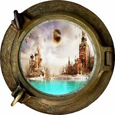 Huge 3D Porthole Fantasy Castle View Wall Stickers Film Mural Art Decal Wallpape