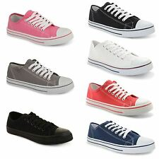 New Ladies Casual Flat Lace Up Canvas Trainers Plimsolls Pumps Shoes UK Size 3-8