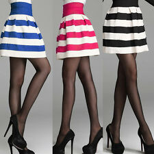 Women Lady Thick Stripe Pleated High Waist Skater Tutu Skirt Short Mini Dress