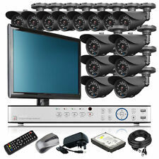 14 x Weather Proof Camera HD-MI 16 CH DVR CCTV Package Home & Business Monitor i