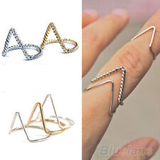 Ladies Stunning V-Shaped Band  Arrow Above Knuckle Midi Rings Gold/Silver BF2U