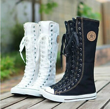 PUNK ROCK Canvas Boot Women Gril Sneaker Flat Tall Lace Up Knee High Zip Shoes