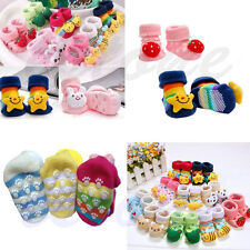 1 Pair New Cute Baby Girl Boy Cotton Cartoon Anti-slip Soft Shoe Socks 0-6 Month