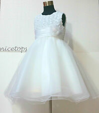 W810 White Wedding Party Dress Bridesmaid Flower Girls Dresses AGE SIZE 1 to 10Y