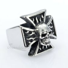 22mm Biker Flame Cross Skull Silver Tone 316L Stainless Steel Mens Boys Ring
