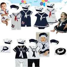 Baby Boy Hat + Marine Sailor Outfit Romper Navy Captain Costume One-Pieces 3-18M