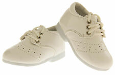 Baby Boy Infant Toddler White Formal Lace Up Shoes Christening Party Sz Size 0-5