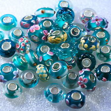 "BLUE-GREEN ""YOU CHOOSE"" SINGLE CORE EUROPEAN MURANO/LAMPWORK STYLE GLASS BEADS"