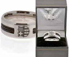 FC BARCELONA MENS STAINLESS STEEL BLACK INLAY FCB CLUB CRESTED  BAND RING
