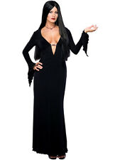 Adult Morticia Adams Outfit Fancy Dress Costume Sexy Halloween Ladies Womens