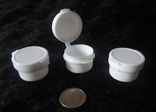 3g/ml White Hinged Jars lip container pots plastic cosmetic sample wholesale lot