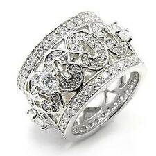 M7X182PB PAVE SET STONE ALL AROUND BAND 925 SILVER SIMULATED DIAMOND RING WOMENS