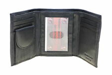 Men Trifold Wallet Genuine Leather Button Snap Change Pocket Zipper Bill Section