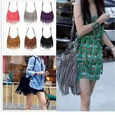 Fashion Celebrity Tassel Suede Fringe Shoulder Messenger Handbag Cross Body Bag