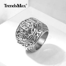 MENS Boy Carved Cross Crown Silver Tone 316L Stainless Steel Ring GIFT Sz 8-13