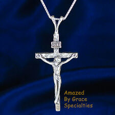 SOLID Sterling Silver 925 Crucifix Pendant w/ CHOICE of CHAINS! -PRICE REDUCED-