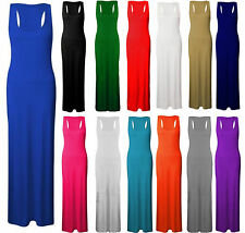 NEW LADIES LONG SLEEVELESS STRETCH JERSEY RACER MAXI WOMENS VEST LONG DRESS 8-26