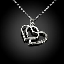 New 925 Sterling Silver Filled Crystal Double Heart Charm Pendant Necklace